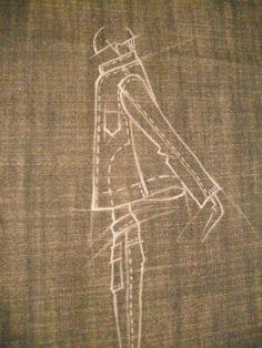 Sketches on denim.