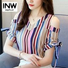 Cheap Women Tops And Blouses 2018 Fashion Colorful Striped Blouse Shirt Fem . Trendy Fashion, Fashion Outfits, Womens Fashion, Colorful Fashion, Sleeves Designs For Dresses, Indian Designer Wear, Stylish Dresses, Blouses For Women, Ladies Blouses