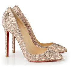 Pump 'Pigalle Strass 120' Nude (50,855 MXN) ❤ liked on Polyvore featuring shoes, pumps, heels, sapatos, christian louboutin, nude pumps, nude shoes, stiletto pumps, high heel stilettos and nude heel pumps