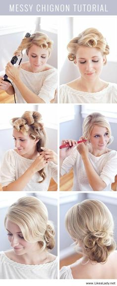 A chic and sophisticated romantic messy chignon