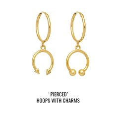 'Pierced' hoops with charms: a pair of sleeper hoops with asymmetric piercing-style charms featuring studs and balls. Body Modifications, Body Piercing, Balls, Studs, Charms, Jewels, Personalized Items, Collection, Asparagus