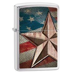 Zippo 28653 Classic Retro American Star Brushed Chrome Windproof Pocket Lighter,