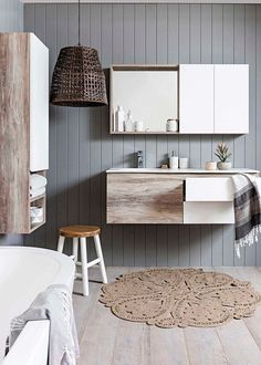 """Last trend from the Colour Forecast is """"Kinship - a gentle revolution is underway"""". Loving the earthy hues paired with neutral shades - like this bathroom from featuring the Cibo Habitat vanity unit. Love a bit of warmth in the bathroom! Home Interior, Bathroom Interior, Interior Design, Modern Interior, Bad Inspiration, Bathroom Inspiration, Laundry In Bathroom, Bathroom Vanities, Bathroom Goals"""