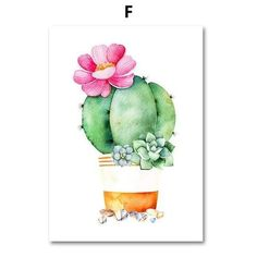 Pub Decor, Wall Decor, Watercolor Cactus, Cactus Art, Plant Wall, Plant Design, Planting Succulents, Wall Design, Canvas Wall Art
