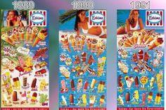<b>Eistafeln von Eskimo (Langnese): 1989 - 1991: </b><br>  Gab es Mitte der Achtziger nur glückliche Gesichter zu sehen, rücken jetzt die neuen Strandmodels deutlich in den Vordergrund.