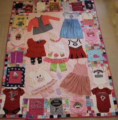 Baby Clothes Quilt Memory Quilt: Custom Baby's First Year Clothing … Baby Memory Quilt, Memory Pillows, Baby Quilts, Memory Quilts, Children's Quilts, Shirt Quilts, Quilt Blocks Easy, Twin Quilt Size, Baby Clothes Quilt