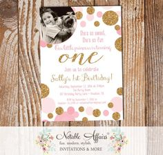 Pink Confetti Dots Sprinkles First Birthday Invitation with child's photo - any age - pink gold and light pink birthday invitation by NotableAffairs
