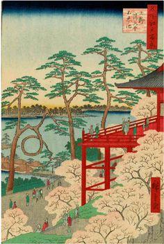 SAKURA Tokyo JAPAN 歌川広重「上野清水堂不忍ノ池」(名所江戸百景)