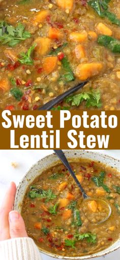 Earthy Moroccan Sweet Potato Lentil Stew recipe with cumin, coriander and smoked paprika. Hearty, detoxing and loaded with protein and micro nutrients from fresh kale and spinach, this recipe needs to be on repeat all winter long. Vegetarian Dinners, Vegetarian Recipes Easy, Veggie Recipes, Healthy Recipes, Lentil Dishes, Lentil Stew, Veggie Dishes, Chowder Recipes, Soup Recipes