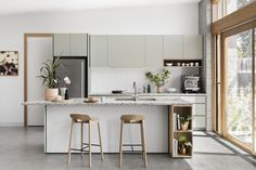 Inspired by travels to Greece and Italy, the owners of this Melbourne home wished to feature terrazzo and soft, olive-toned neutrals in their new kitchen. Custom Kitchens, Cool Kitchens, Open Plan Kitchen, New Kitchen, Terrazzo, Ikea Kitchen Storage, Kitchen Island Bench, Industrial Style Kitchen, Interior Desing