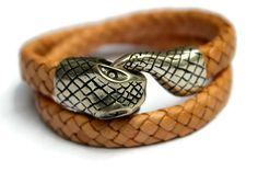 Snake Bracelet, Leather Ouroboros, Braided Tan Serpent, Black Snake, Silver Snake, Serpent Bracelet, Wrap Bracelet, Snake Clasp Bracelet