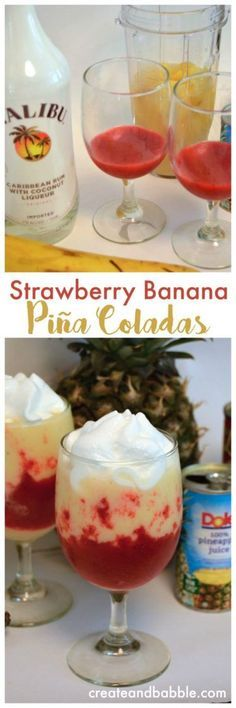 Strawberry Banana Piña Colada / to 1 Cup of fresh or frozen (defrosted) strawberries/ teaspoon sugar / 1 small can pineapple juice C) / cup coconut cream / 1 small banana (sliced and frozen) / to 1 cup diced frozen pineapple chunks/ 2 o (bartender drinks) Refreshing Drinks, Summer Drinks, Cocktail Drinks, Cocktail Recipes, Alcoholic Drinks, Party Drinks, Liquor Drinks, Bourbon Drinks, Cocktail Ideas