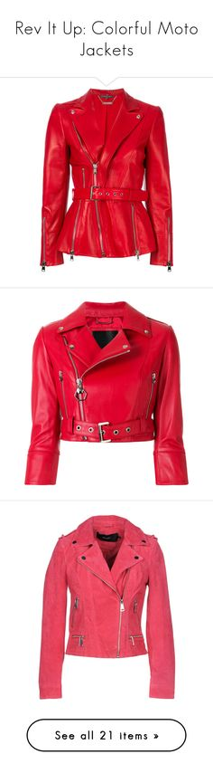 """""""Rev It Up: Colorful Moto Jackets"""" by polyvore-editorial ❤ liked on Polyvore featuring colorfulmotojackets, outerwear, jackets, red, rider leather jacket, leather biker jackets, red motorcycle jacket, leather jackets, red leather jacket and red jacket"""