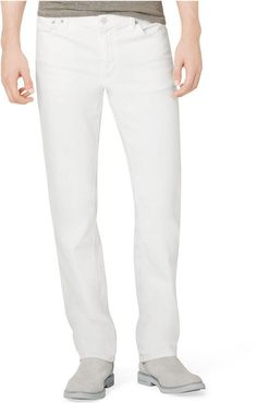 $69, White Jeans: Calvin Klein Jeans Slim Straight White Jeans. Sold by Macy's. Click for more info: http://lookastic.com/men/shop_items/66492/redirect