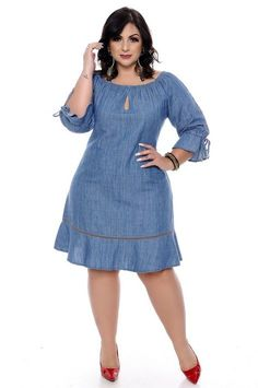 Vestido Jeans Plus Size Nandely Source by para gorditas African Fashion Ankara, Latest African Fashion Dresses, African Print Fashion, Simple Dresses, Casual Dresses, Short African Dresses, Vestidos Plus Size, African Attire, Classy Dress