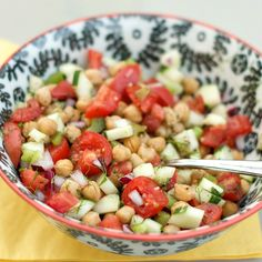 This Cucumber and Chickpea Salad with Citrus is a healthy, light lunch option with chopped veggies--tomatoes, cucumber, red onion, celery--and fresh herbs.