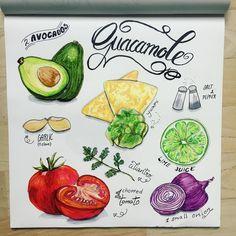 Guacamole -Art Recipe @dancelovedraw Guacamole Mix, Just Add Magic, Healthy Sauces, Food Sketch, Yummy Food, Tasty, Acrylic Canvas, Inspire Me, Healthy Lifestyle