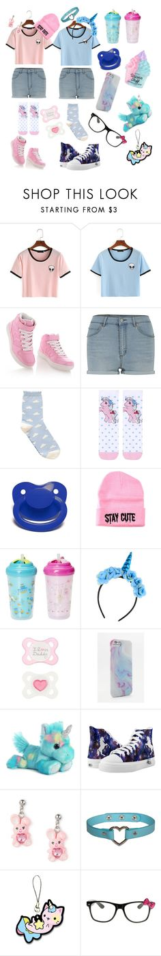 """Blue and pink honey"" by rainythedarklord ❤ liked on Polyvore featuring Timeless, Cheap Monday, Topshop, Stay Cute, Blue Blood and Hello Kitty"