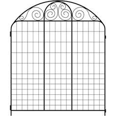 Summer Scroll 3.66 ft. x 3 ft. Black Steel Fence Panel