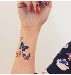 the blue one Moños Tattoo, Wrist Tattoos, Tattoo Blog, Body Art Tattoos, Tattos, Butterfly Wrist Tattoo, Butterfly Tattoos For Women, Butterfly Tattoo Designs, Little Tattoos