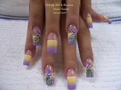 Most popular tags for this image include: butterfly, nail art, nails, purple and yellow Purple Nail Designs, Long Nail Designs, Nail Art Designs, Nails Design, Pedicure Designs, Summer Acrylic Nails, Summer Nails, Really Cute Nails, Long Nail Art
