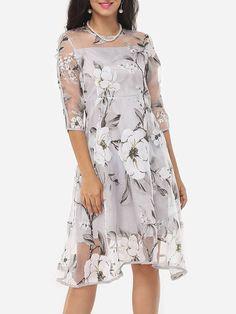 Crew Neck Organza Floral Seethrough Shift Dress