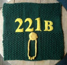My finished 221B square for the Shlanket (Sherlock Blanket) knit-a-long!