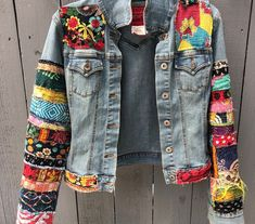 Jean jacket hippie boho embellished colorful denim jean jacket | Etsy