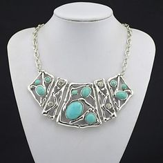 Jewelry+Statement+Necklaces+Wedding+/+Party+/+Daily+/+Casual+Rhinestone+Women+Black+/+Green+Wedding+Gifts+–+USD+$+7.99