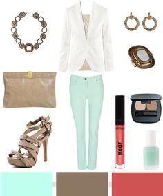 mint and taupe outfit