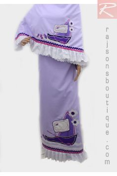 A Purple Plain Fabric With Frill With Machine Patch Work.  Price-Rs.2652