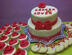 Nişan Pasta, Cupcake ve Butik Kurabiye Seti - Melek Anne Pasta Anne, Cupcake, Birthday Cake, Pasta, Desserts, Food, Tailgate Desserts, Deserts, Cupcakes