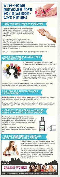 The grammar and usage in this are ghastly, but the tips are solid. | 5 At-Home Manicure Tips For A Saloon-Like Finish! [Infographic] Nail Design, Nail Art, Nail Salon, Irvine, Newport Beach