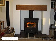 small contained cottage style fireplaces - Google Search York Stone, Bar Areas, Wood Burning, Cottage Style, Hearth, Beams, Home Appliances, Stoves, House