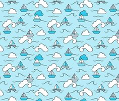 Sea Clouds Waves and Boats fabric by nossisel on Spoonflower - custom fabric