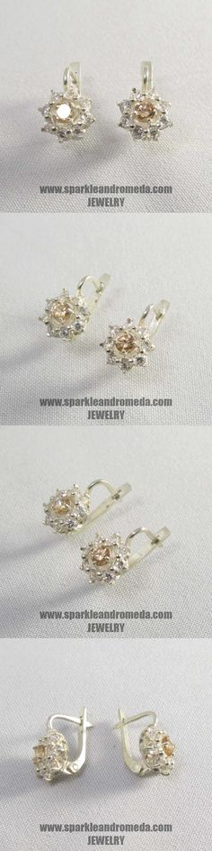 Sterling 925 silver earrings with 2 round 4 mm golden beryl color and 16 round mm white color cubic zirconia gemstones. 925 Silver Earrings, Classic Style, Wedding Rings, Engagement Rings, Gemstones, Shop, Color, Jewelry, Enagement Rings