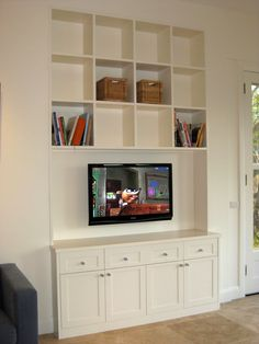built in TV unit. I like this bc this layout allows you to change your tv size at anytime...