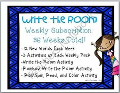 Write the Room Literacy Activities for the YEAR! - This HUGE pack includes write the room activities, PLUS multiple activities to accompany each write the room set of weekly words! In addition, this product is 30% off in my store right now! Good luck!.  A GIVEAWAY promotion for Writing Center Write the Room Yearlong Package: 36 Weeks Total! from TheKinderLife on TeachersNotebook.com (ends on 11-24-2014)