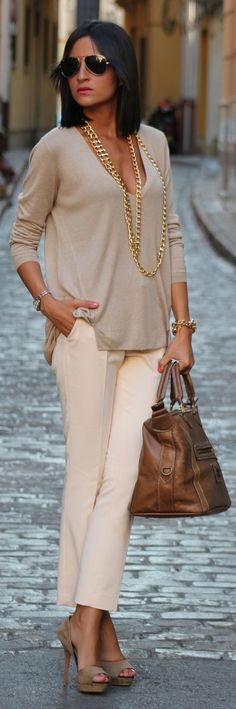 Beige and Nude creating a neutral, fabulous look with the gold necklace bringing it all together. Divine.
