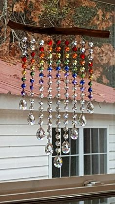 9 Strand Rainbow and Waterfall Suncatcher image 1 Glass Bead Crafts, Glass Art, Glass Beads, Glass Wind Chimes, Diy Wind Chimes, Motifs Perler, Wire Crafts, Rock Crafts, Clay Crafts