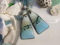 Ocean Blue Enamel Earrings Copper Jewelry Handmade Lampwork Beads