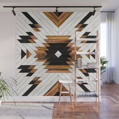 Urban Tribal Pattern - Aztec - Wood // Wall Mural by Zoltan Ratko // This pattern design is also available as a wall art, apparel, tech and home Decor, Urban Tribal, Decor Design, Wood Wall, Wood Wall Art, Mural, Wood Art, Home Decor, Interior Design