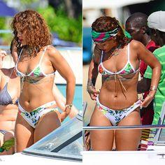 Robyn Rihanna Fenty beach pool yacht jet ski paddle boarding bikini swimsuit style instagram badgalriri barbados brazil capri italy monaco 2015