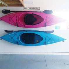 Kayak storage. His + Hers kayaks.