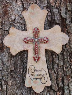 Antique Wall Cross with Ivory Lace and by TheVelvetRobyn on Etsy, $25.00