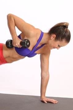 Amp up your planks for even more benefits. Just add some dumbbells to this classic move to tone your arms, shoulders, and back even more.