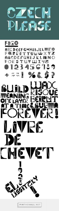 Figo - Graphics - YouWorkForThem - Designed byBlake E. Marquis- Considering its mix and match block structures and alternate characters, Figo is a hand set font that is as much a toy as it is a typeface. And there's something eastern european about it too, like a russian children's font from the early Soviet years. It's perfect for hand setting, where you have complete control over the spacing and arrangement. But don't take our word for it, Figo it out for yourself. (affiliate)