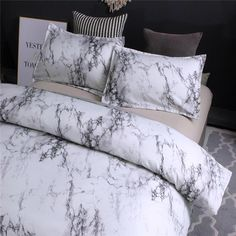 Load image into Gallery viewer, Modern Marble Printed Bedding Set Queen Size Duvet Cover Set Bed Linen Quilt Cover Marble Comforter, Marble Duvet Cover, Bed Comforter Sets, Queen Bedding Sets, Luxury Bedding Sets, Twin Xl Bedding, Marble Bed Set, White Marble, My New Room