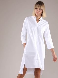 Women's Poplin Drop Shoulder Shirt Dress Just drop it! Well, your shoulders that is – keep ahold of your phone, your bag, and whatever else you may be carrying. Comfort meets current thanks to the Drop Shoulder Shirt Dress. Long White Shirt, Pattern Mixing, Pocket Detail, Poplin, Style Inspiration, Drop, Shirt Dress, Shoulder, Cotton