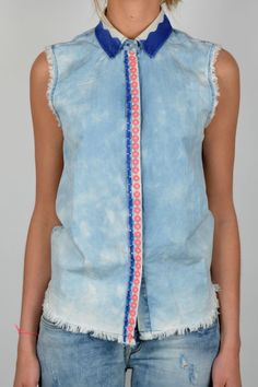 Festival Fashion: Get Yourself Geared Up With The Latest Festival Wear.  MAISON SCOTCH SLEEVELESS TIE AND DYE DEINM SHIRT